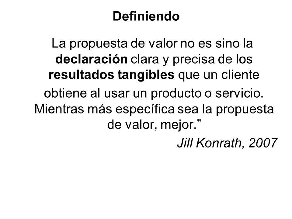Definiendo La propuesta de valor no es sino la declaración clara y precisa de los resultados tangibles que un cliente obtiene al usar un producto o se