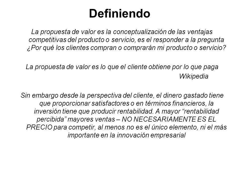 Definiendo La propuesta de valor es la conceptualización de las ventajas competitivas del producto o servicio, es el responder a la pregunta ¿Por qué