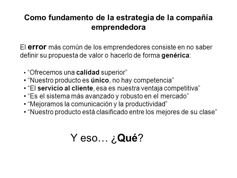 Como fundamento de la estrategia de la compañía emprendedora El error más común de los emprendedores consiste en no saber definir su propuesta de valo
