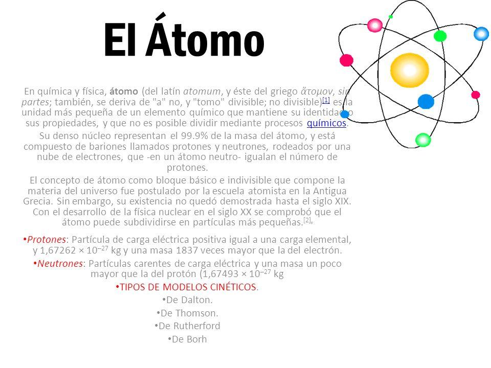El Átomo En química y física, átomo (del latín atomum, y éste del griego τομον, sin partes; también, se deriva de