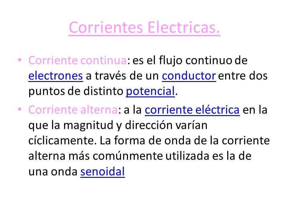 Corrientes Electricas. Corriente continua: es el flujo continuo de electrones a través de un conductor entre dos puntos de distinto potencial. electro