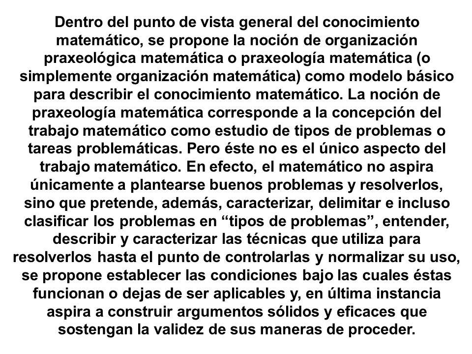Dentro del punto de vista general del conocimiento matemático, se propone la noción de organización praxeológica matemática o praxeología matemática (