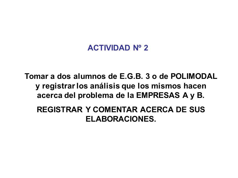 ACTIVIDAD Nº 2 Tomar a dos alumnos de E.G.B. 3 o de POLIMODAL y registrar los análisis que los mismos hacen acerca del problema de la EMPRESAS A y B.