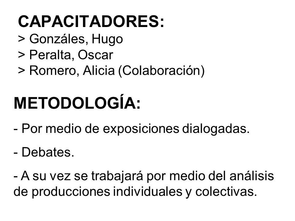CAPACITADORES: > Gonzáles, Hugo > Peralta, Oscar > Romero, Alicia (Colaboración) METODOLOGÍA: - Por medio de exposiciones dialogadas. - Debates. - A s