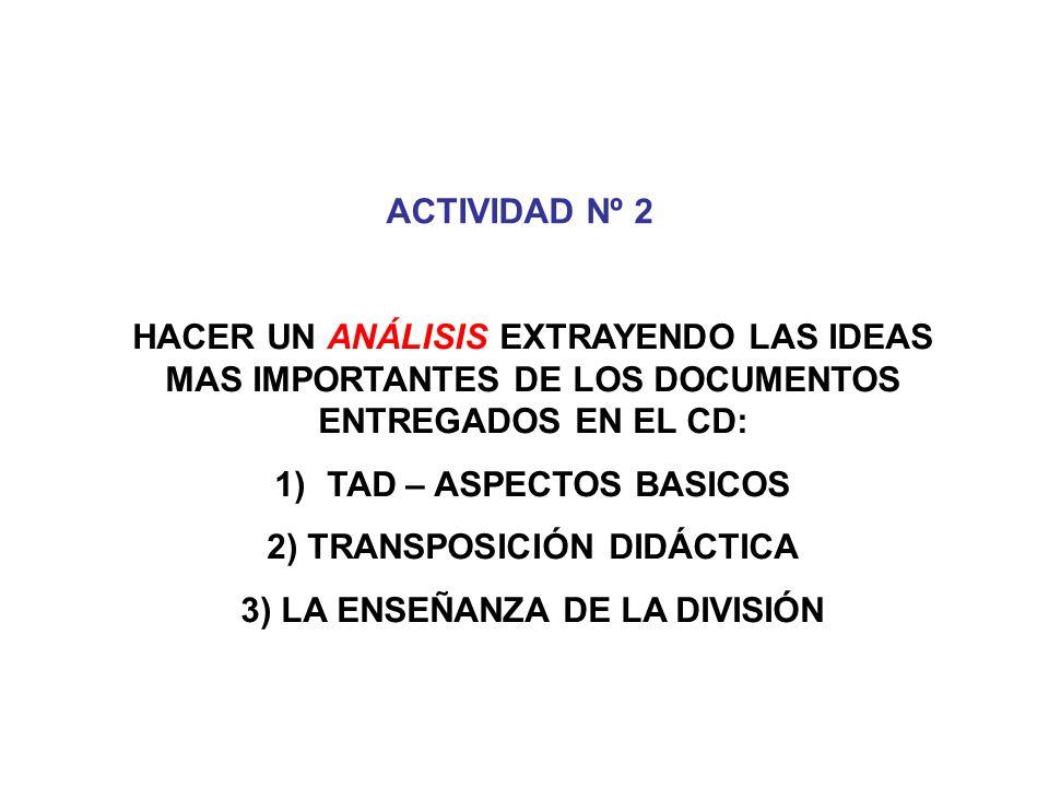 ACTIVIDAD Nº 2 HACER UN ANÁLISIS EXTRAYENDO LAS IDEAS MAS IMPORTANTES DE LOS DOCUMENTOS ENTREGADOS EN EL CD: 1)TAD – ASPECTOS BASICOS 2) TRANSPOSICIÓN