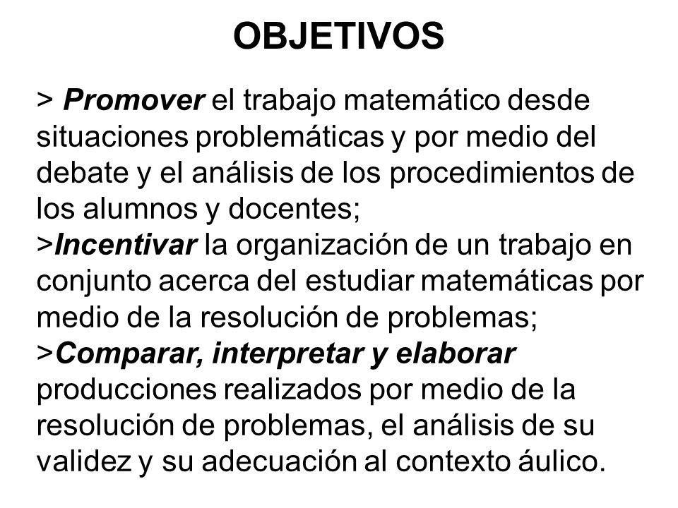> Promover el trabajo matemático desde situaciones problemáticas y por medio del debate y el análisis de los procedimientos de los alumnos y docentes;