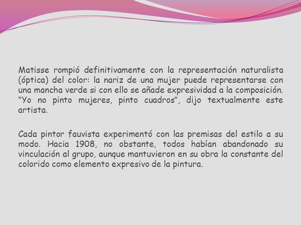 Técnicamente el uso fauvista del color derivó de los experimentos realizados por Matisse en Saint-Tropez durante el verano de 1904, donde contactó con