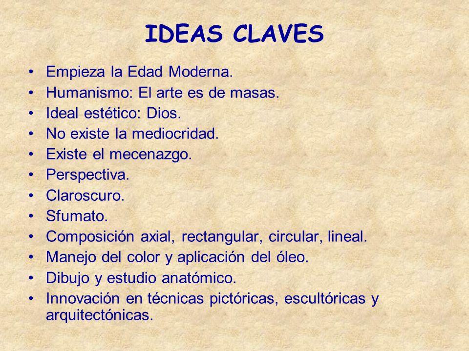 IDEAS CLAVES Empieza la Edad Moderna. Humanismo: El arte es de masas. Ideal estético: Dios. No existe la mediocridad. Existe el mecenazgo. Perspectiva