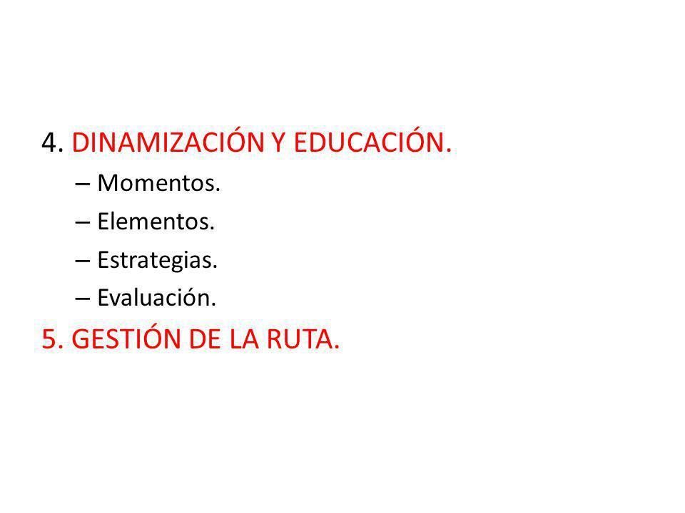 4. DINAMIZACIÓN Y EDUCACIÓN. – Momentos. – Elementos. – Estrategias. – Evaluación. 5. GESTIÓN DE LA RUTA.