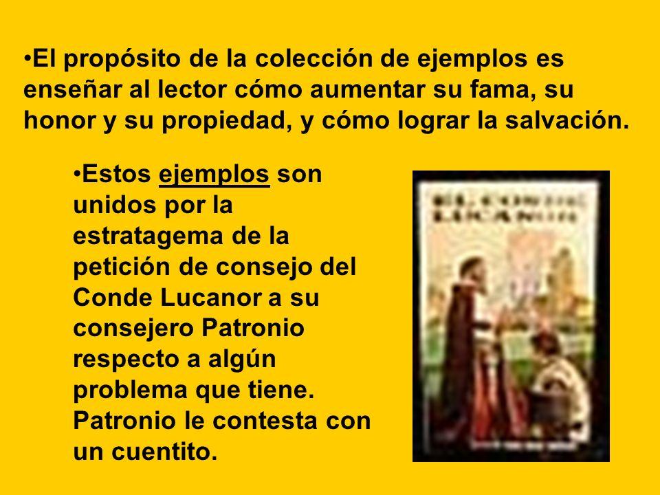 Estos ejemplos son unidos por la estratagema de la petición de consejo del Conde Lucanor a su consejero Patronio respecto a algún problema que tiene.