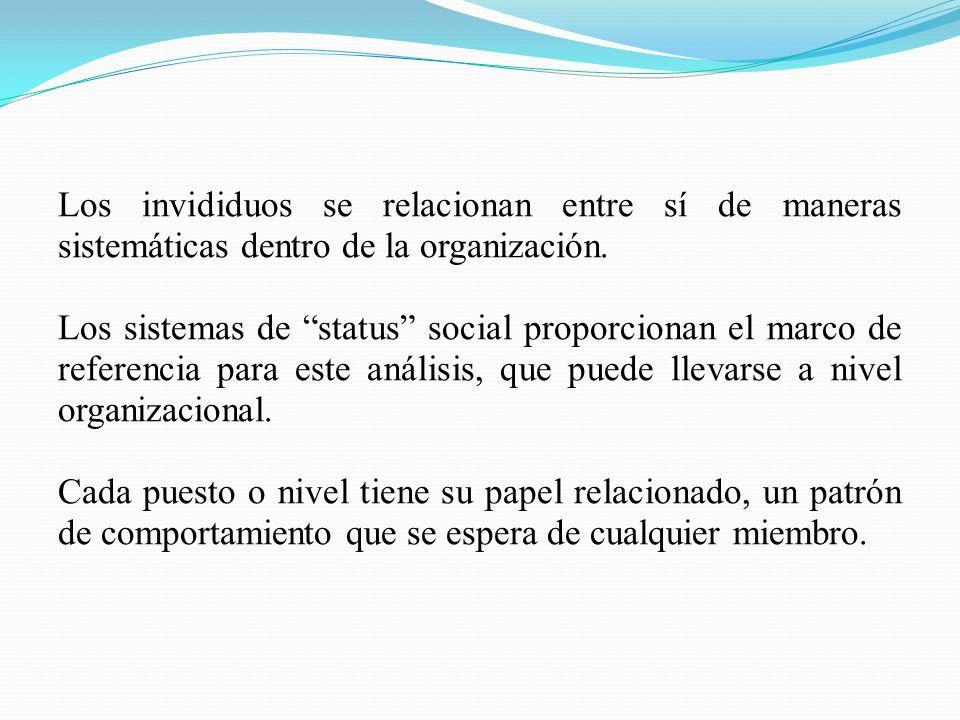 Los invididuos se relacionan entre sí de maneras sistemáticas dentro de la organización. Los sistemas de status social proporcionan el marco de refere