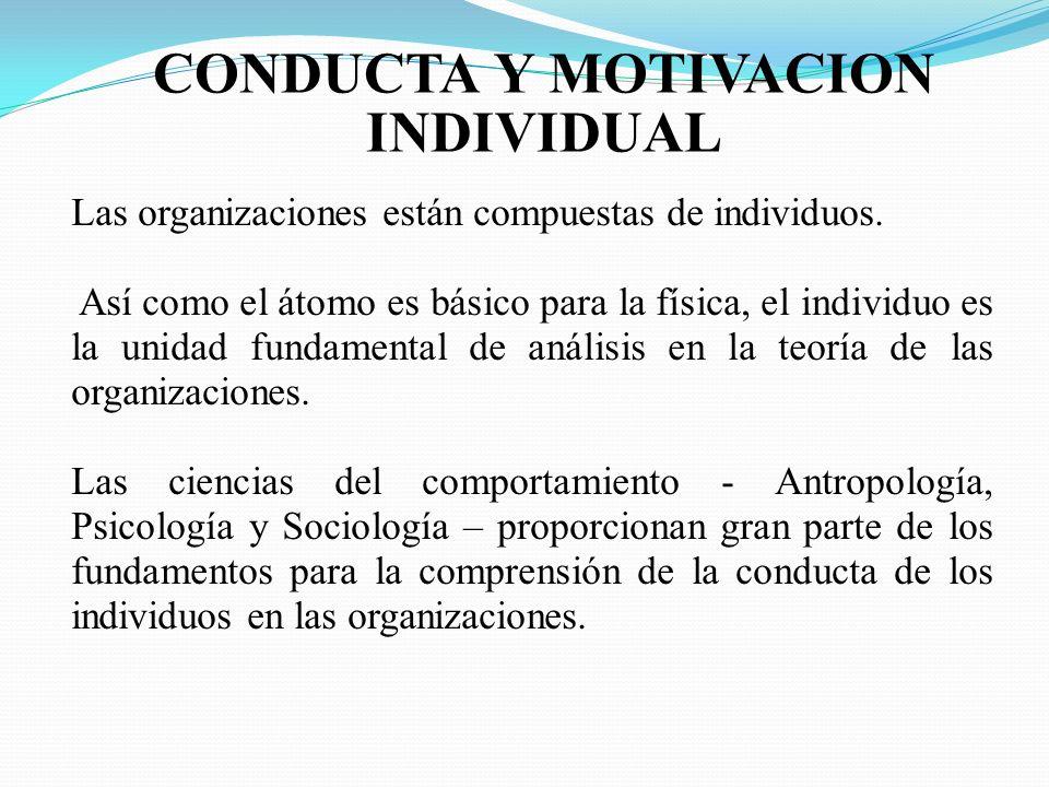CONDUCTA Y MOTIVACION INDIVIDUAL Las organizaciones están compuestas de individuos. Así como el átomo es básico para la física, el individuo es la uni