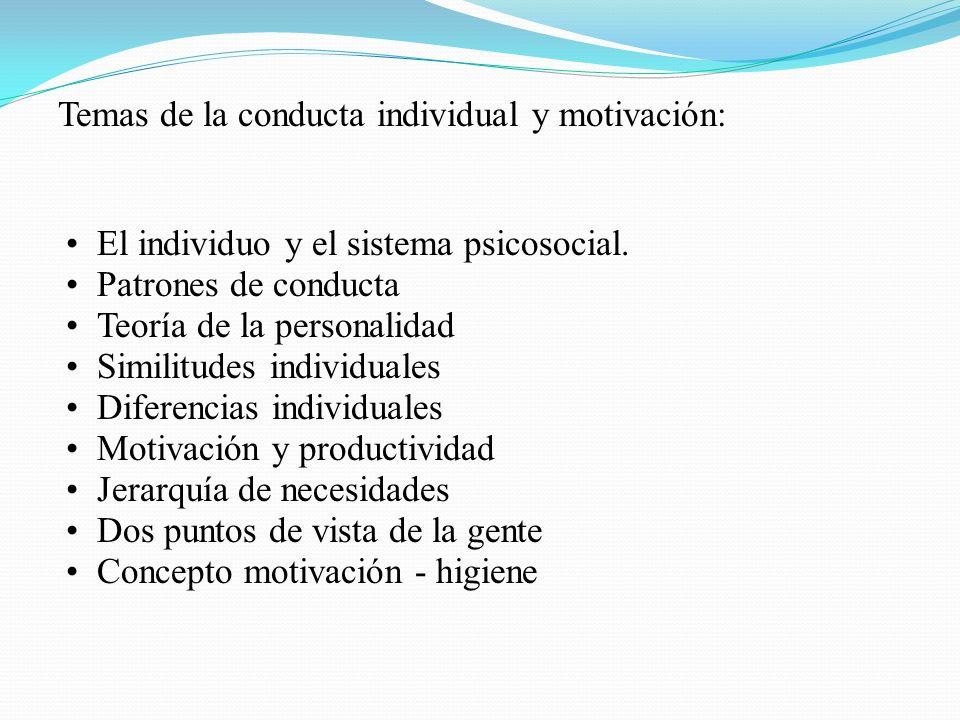 Temas de la conducta individual y motivación: El individuo y el sistema psicosocial. Patrones de conducta Teoría de la personalidad Similitudes indivi