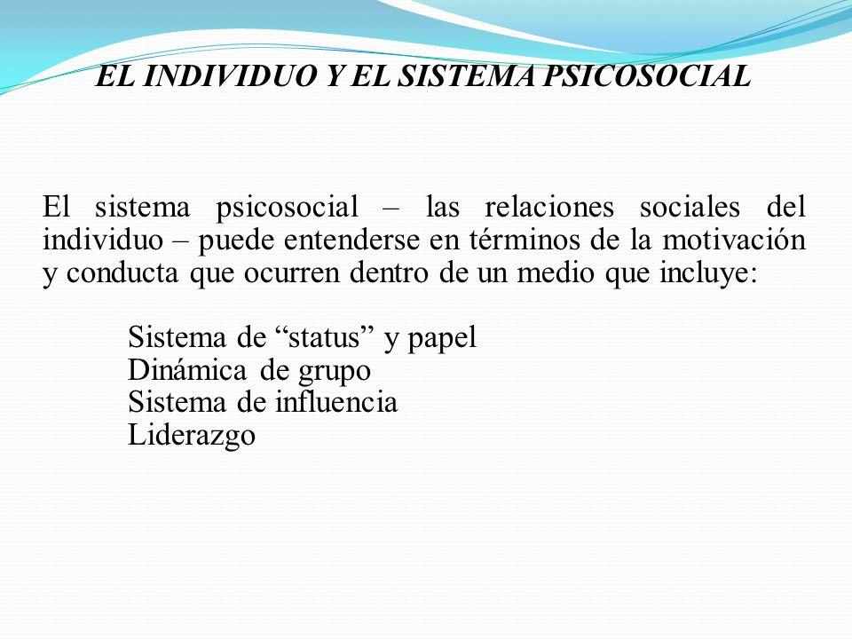 EL INDIVIDUO Y EL SISTEMA PSICOSOCIAL El sistema psicosocial – las relaciones sociales del individuo – puede entenderse en términos de la motivación y conducta que ocurren dentro de un medio que incluye: Sistema de status y papel Dinámica de grupo Sistema de influencia Liderazgo