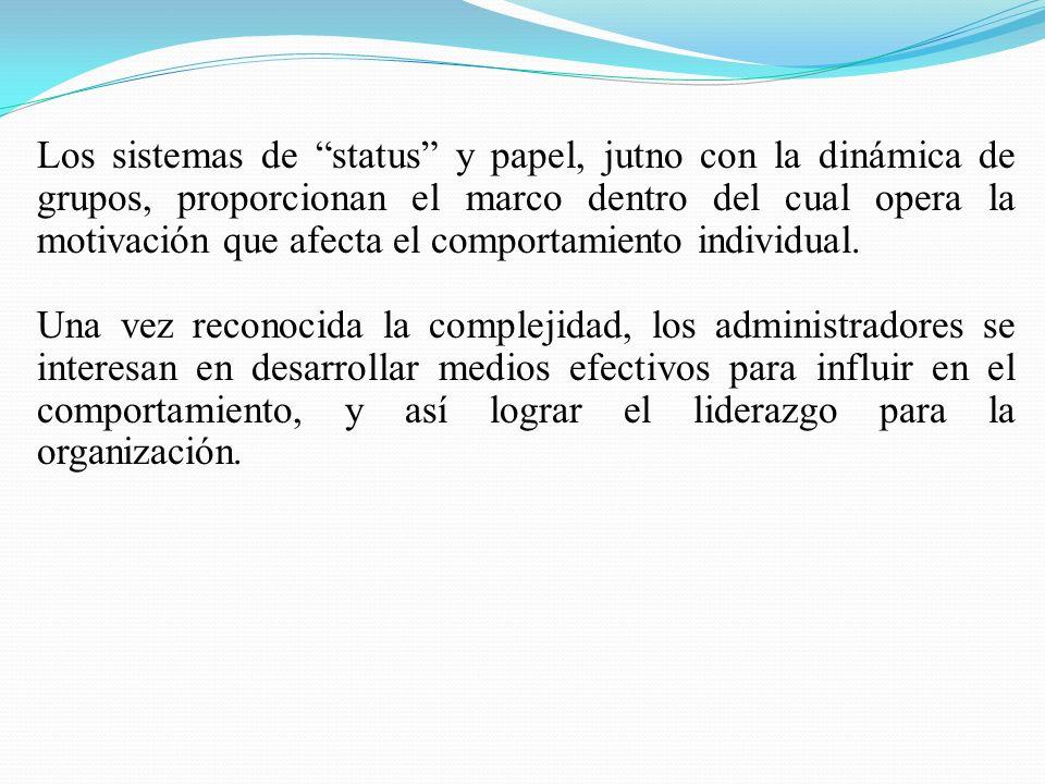 Los sistemas de status y papel, jutno con la dinámica de grupos, proporcionan el marco dentro del cual opera la motivación que afecta el comportamiento individual.