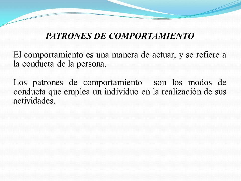 PATRONES DE COMPORTAMIENTO El comportamiento es una manera de actuar, y se refiere a la conducta de la persona. Los patrones de comportamiento son los