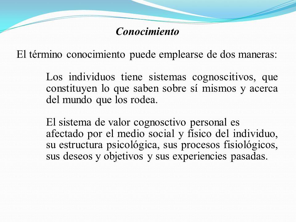Conocimiento El término conocimiento puede emplearse de dos maneras: Los individuos tiene sistemas cognoscitivos, que constituyen lo que saben sobre s