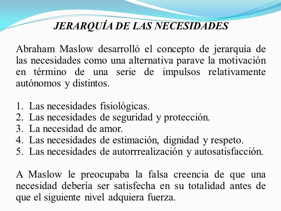 JERARQUÍA DE LAS NECESIDADES Abraham Maslow desarrolló el concepto de jerarquía de las necesidades como una alternativa parave la motivación en término de una serie de impulsos relativamente autónomos y distintos.