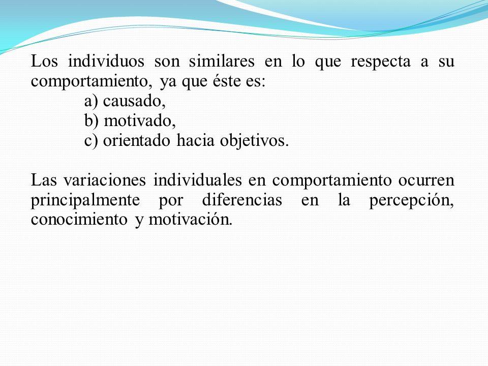 Los individuos son similares en lo que respecta a su comportamiento, ya que éste es: a) causado, b) motivado, c) orientado hacia objetivos. Las variac