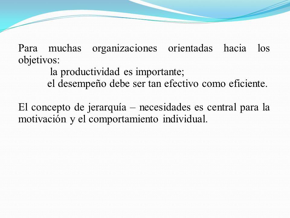 Para muchas organizaciones orientadas hacia los objetivos: la productividad es importante; el desempeño debe ser tan efectivo como eficiente.
