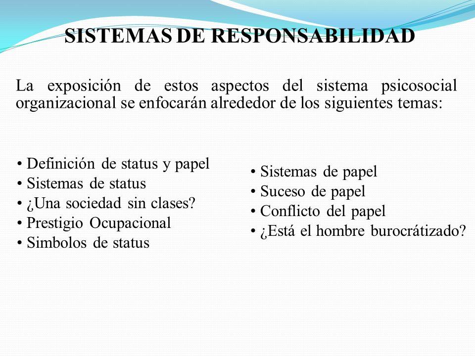 SISTEMAS DE RESPONSABILIDAD La exposición de estos aspectos del sistema psicosocial organizacional se enfocarán alrededor de los siguientes temas: Definición de status y papel Sistemas de status ¿Una sociedad sin clases.