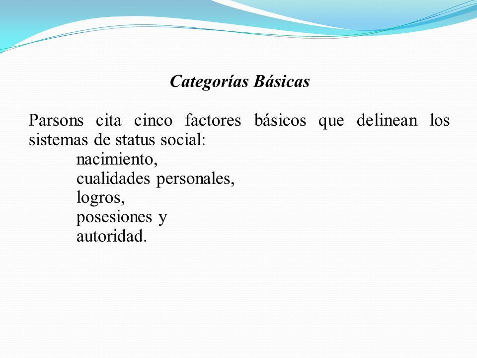 Categorías Básicas Parsons cita cinco factores básicos que delinean los sistemas de status social: nacimiento, cualidades personales, logros, posesiones y autoridad.
