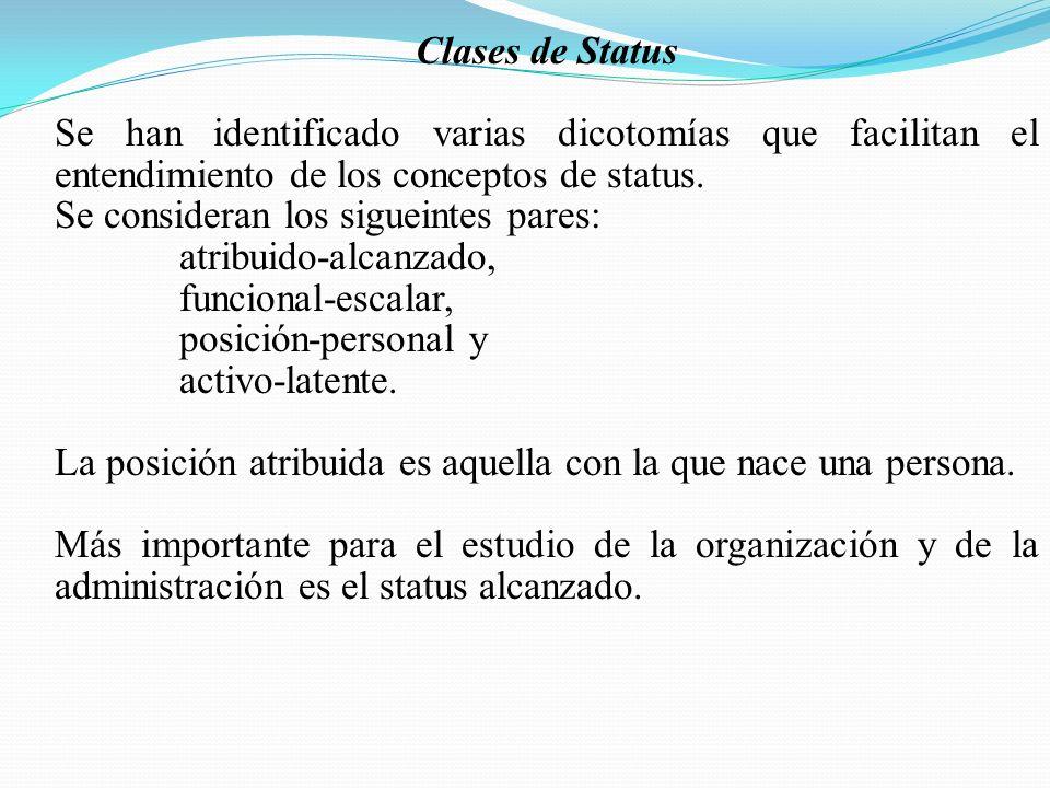 Clases de Status Se han identificado varias dicotomías que facilitan el entendimiento de los conceptos de status. Se consideran los sigueintes pares: