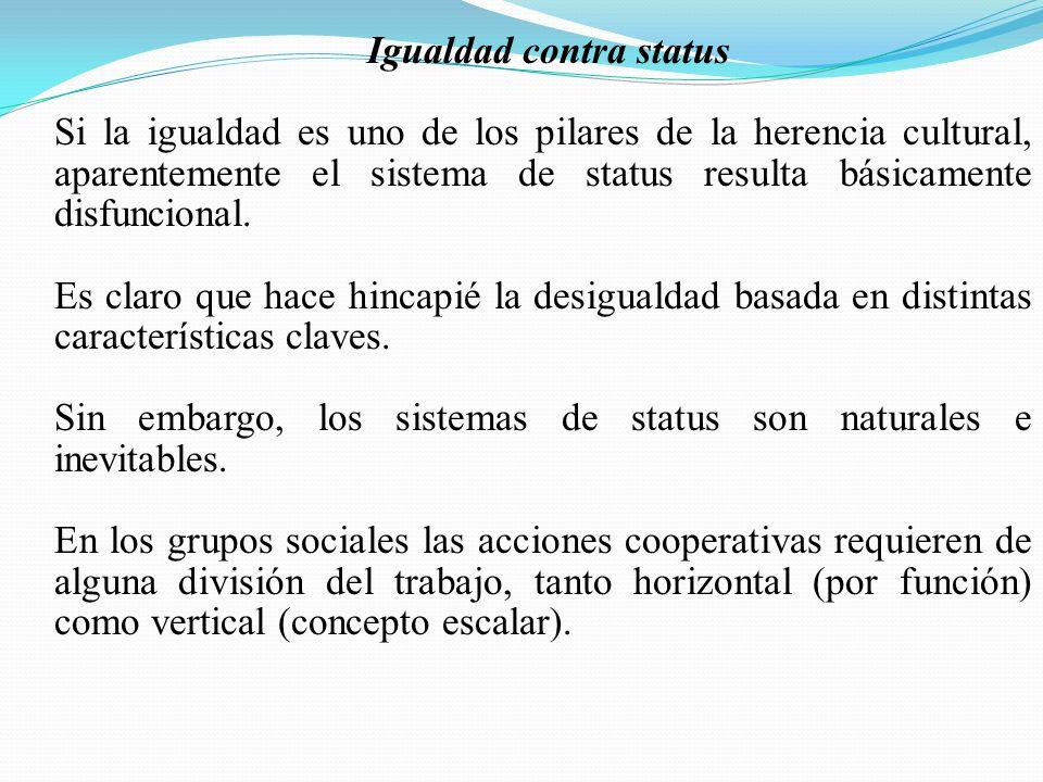 Igualdad contra status Si la igualdad es uno de los pilares de la herencia cultural, aparentemente el sistema de status resulta básicamente disfuncional.