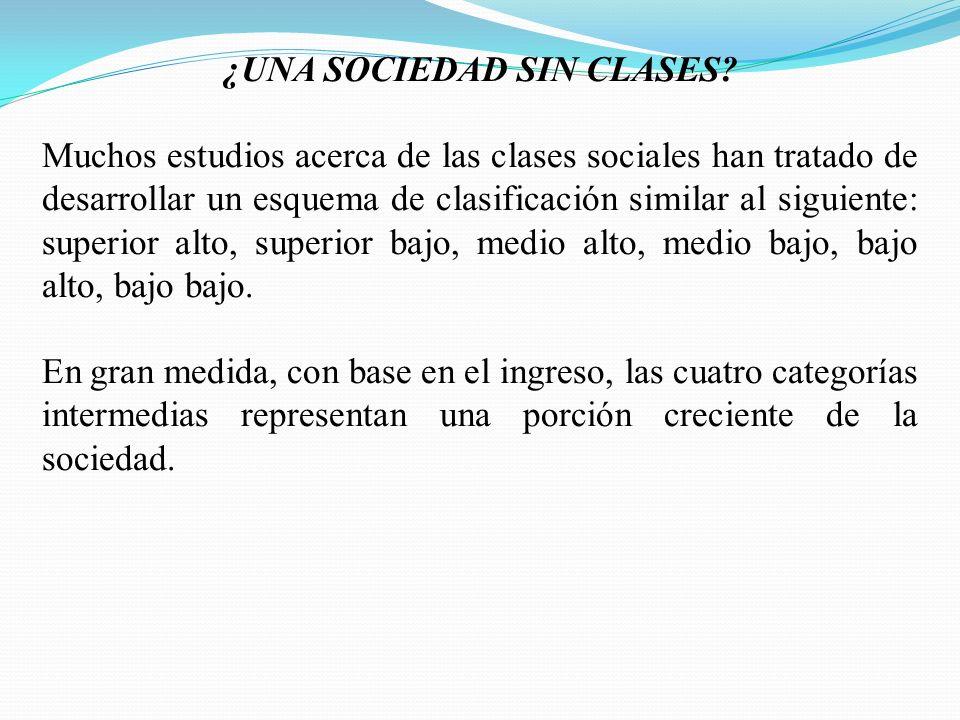 ¿UNA SOCIEDAD SIN CLASES? Muchos estudios acerca de las clases sociales han tratado de desarrollar un esquema de clasificación similar al siguiente: s