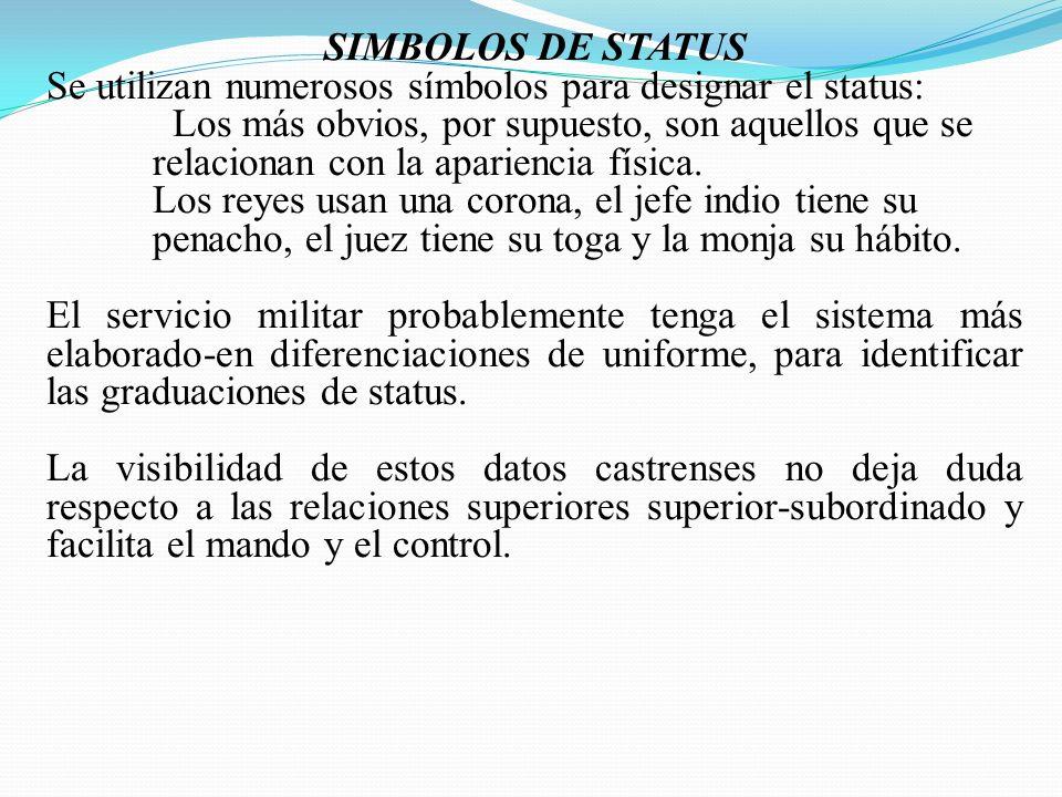SIMBOLOS DE STATUS Se utilizan numerosos símbolos para designar el status: Los más obvios, por supuesto, son aquellos que se relacionan con la apariencia física.