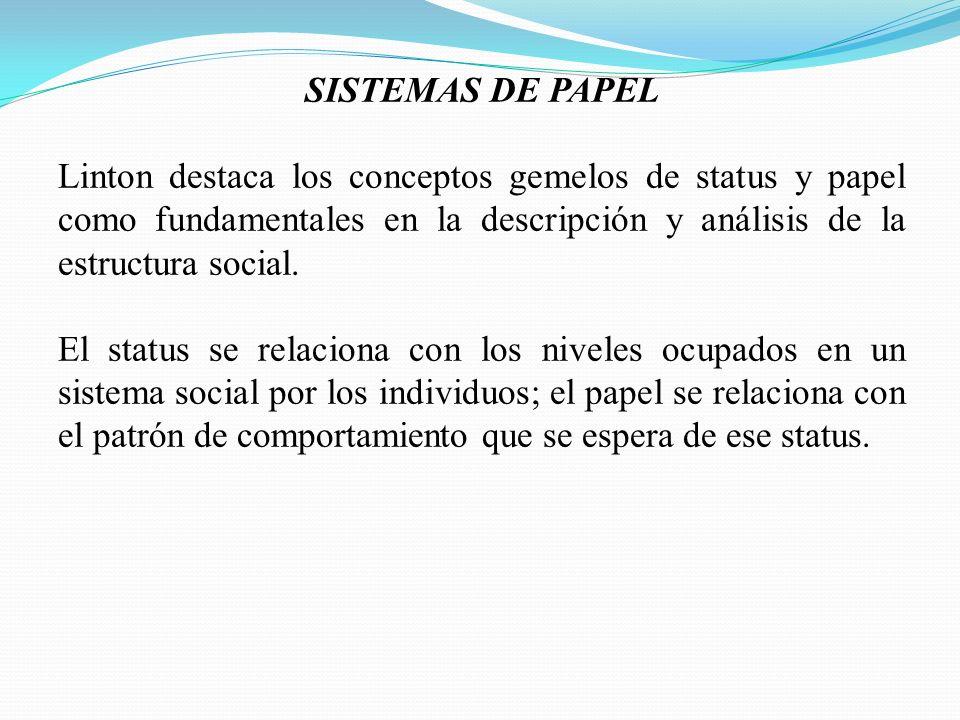 SISTEMAS DE PAPEL Linton destaca los conceptos gemelos de status y papel como fundamentales en la descripción y análisis de la estructura social. El s