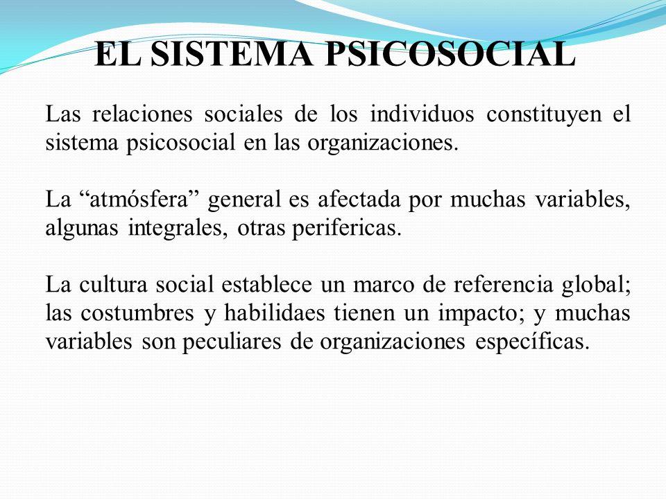 EL SISTEMA PSICOSOCIAL Las relaciones sociales de los individuos constituyen el sistema psicosocial en las organizaciones. La atmósfera general es afe