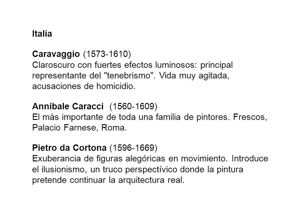 Italia Caravaggio (1573-1610) Claroscuro con fuertes efectos luminosos: principal representante del