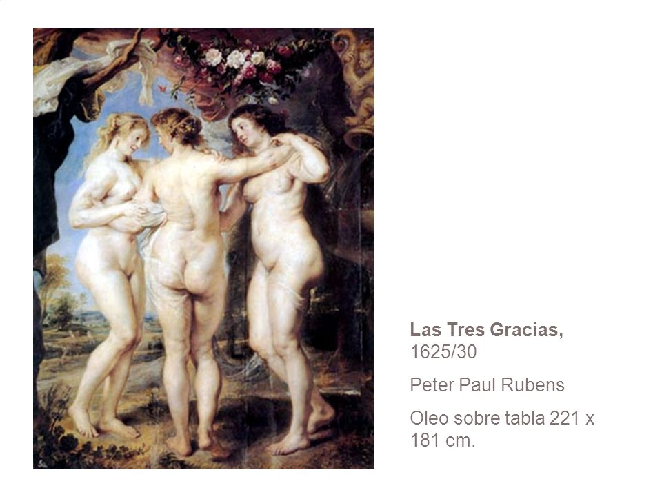 Las Tres Gracias, 1625/30 Peter Paul Rubens Oleo sobre tabla 221 x 181 cm.