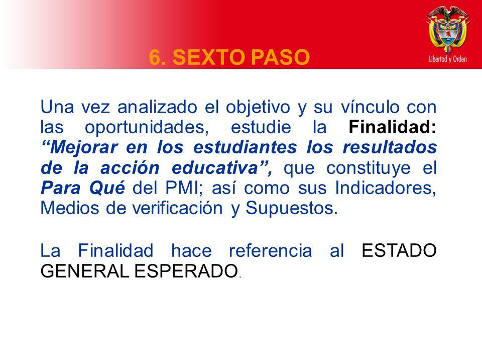 6. SEXTO PASO Una vez analizado el objetivo y su vínculo con las oportunidades, estudie la Finalidad: Mejorar en los estudiantes los resultados de la