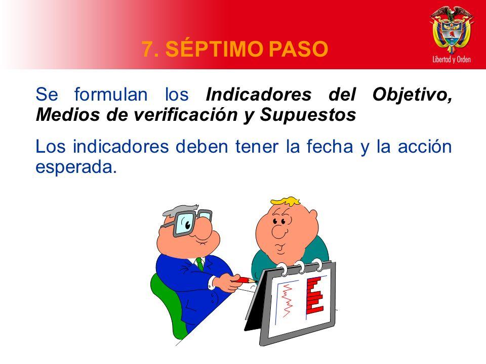 7. SÉPTIMO PASO Se formulan los Indicadores del Objetivo, Medios de verificación y Supuestos Los indicadores deben tener la fecha y la acción esperada