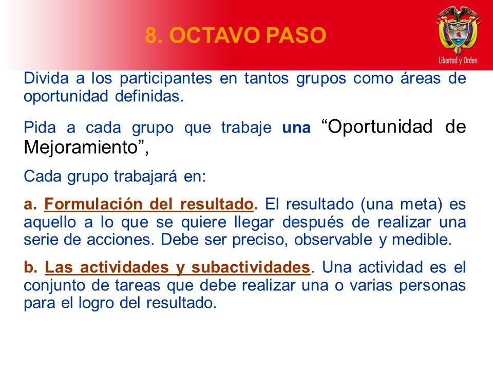 8. OCTAVO PASO Divida a los participantes en tantos grupos como áreas de oportunidad definidas. Pida a cada grupo que trabaje una Oportunidad de Mejor