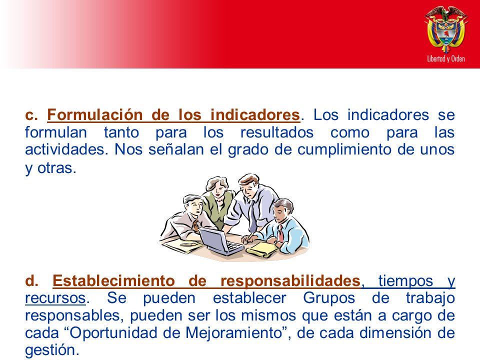 c. Formulación de los indicadores. Los indicadores se formulan tanto para los resultados como para las actividades. Nos señalan el grado de cumplimien