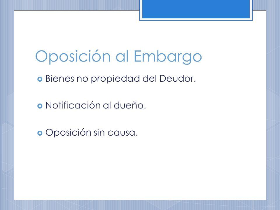Oposición al Embargo Bienes no propiedad del Deudor. Notificación al dueño. Oposición sin causa.