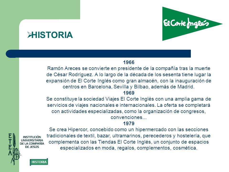 1966 Ramón Areces se convierte en presidente de la compañía tras la muerte de César Rodríguez. A lo largo de la década de los sesenta tiene lugar la e