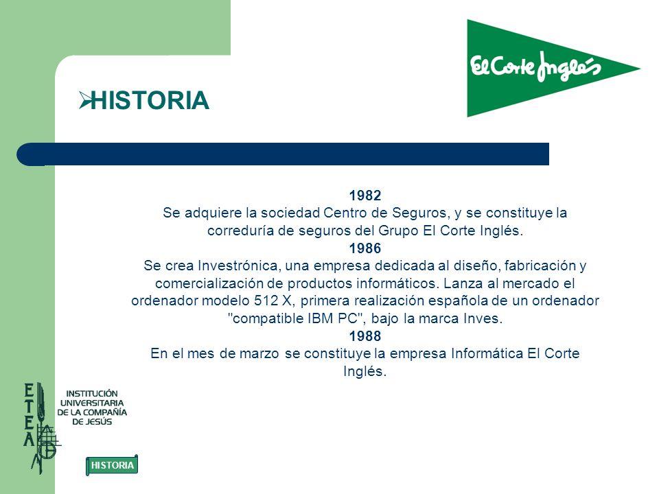 1982 Se adquiere la sociedad Centro de Seguros, y se constituye la correduría de seguros del Grupo El Corte Inglés. 1986 Se crea Investrónica, una emp