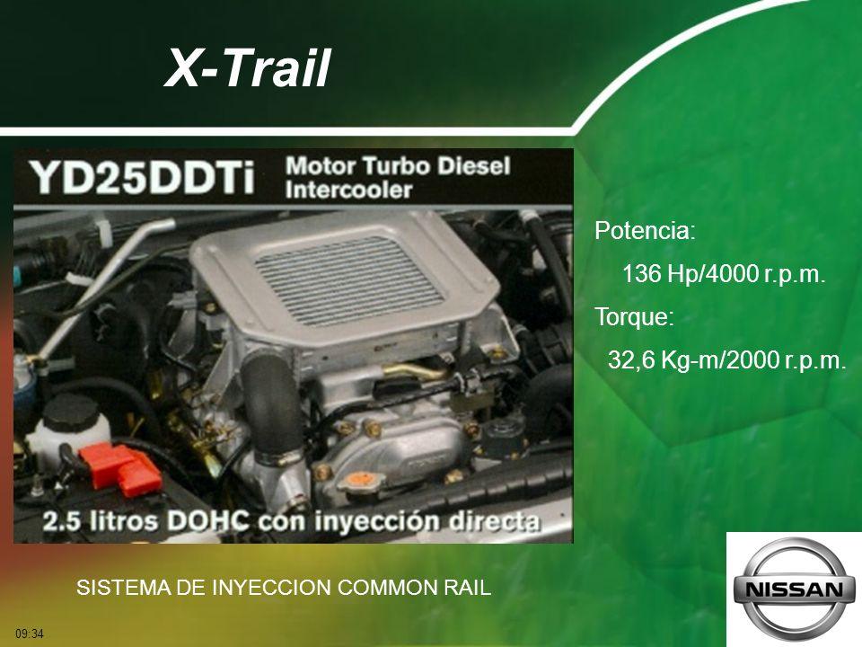 X-Trail Potencia: 136 Hp/4000 r.p.m. Torque: 32,6 Kg-m/2000 r.p.m. SISTEMA DE INYECCION COMMON RAIL 09:36