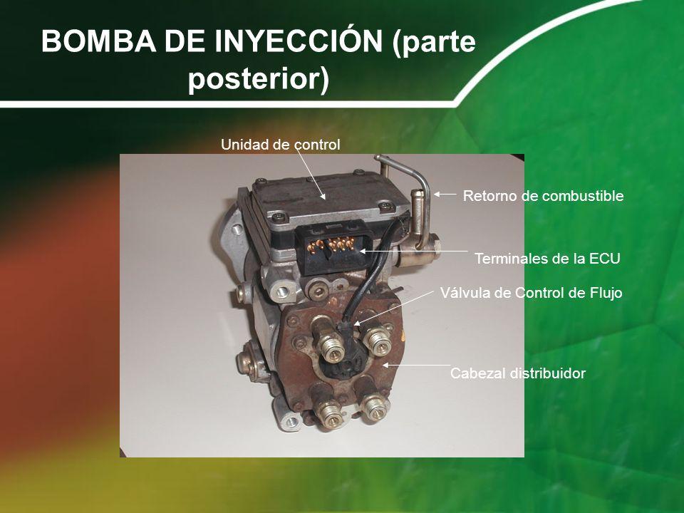 BOMBA DE INYECCIÓN (parte posterior) Retorno de combustible Cabezal distribuidor Unidad de control Terminales de la ECU Válvula de Control de Flujo