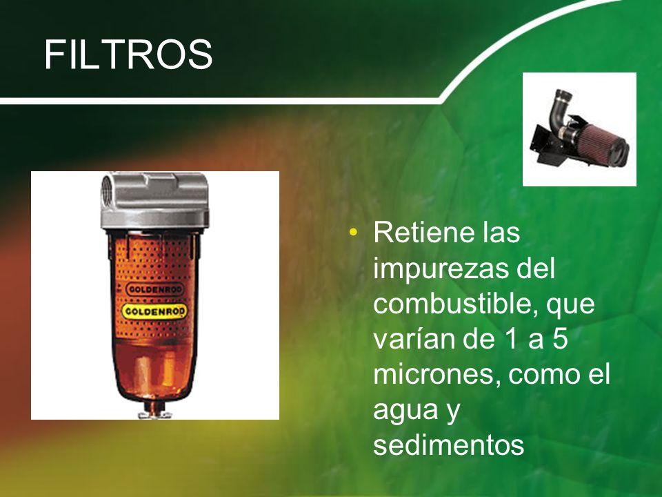 FILTROS Retiene las impurezas del combustible, que varían de 1 a 5 micrones, como el agua y sedimentos