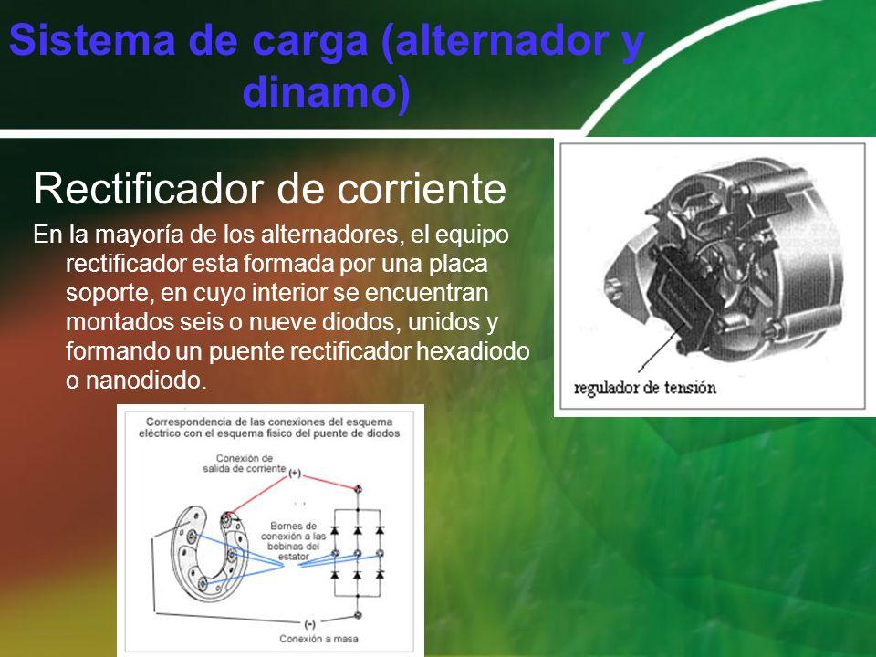 Rectificador de corriente En la mayoría de los alternadores, el equipo rectificador esta formada por una placa soporte, en cuyo interior se encuentran