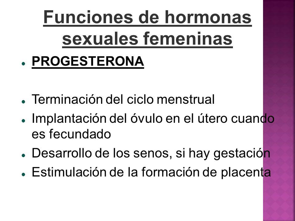 Funciones de hormonas sexuales femeninas PROGESTERONA Terminación del ciclo menstrual Implantación del óvulo en el útero cuando es fecundado Desarroll