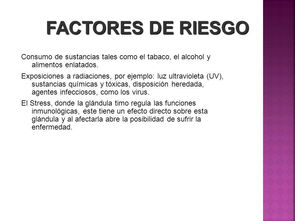 FACTORES DE RIESGO Consumo de sustancias tales como el tabaco, el alcohol y alimentos enlatados. Exposiciones a radiaciones, por ejemplo: luz ultravio