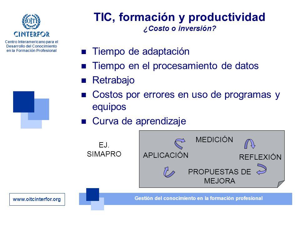 www.oitcinterfor.org Gestión del conocimiento en la formación profesional Centro Interamericano para el Desarrollo del Conocimiento en la Formación Profesional TIC, formación y productividad ¿Costo o inversión.