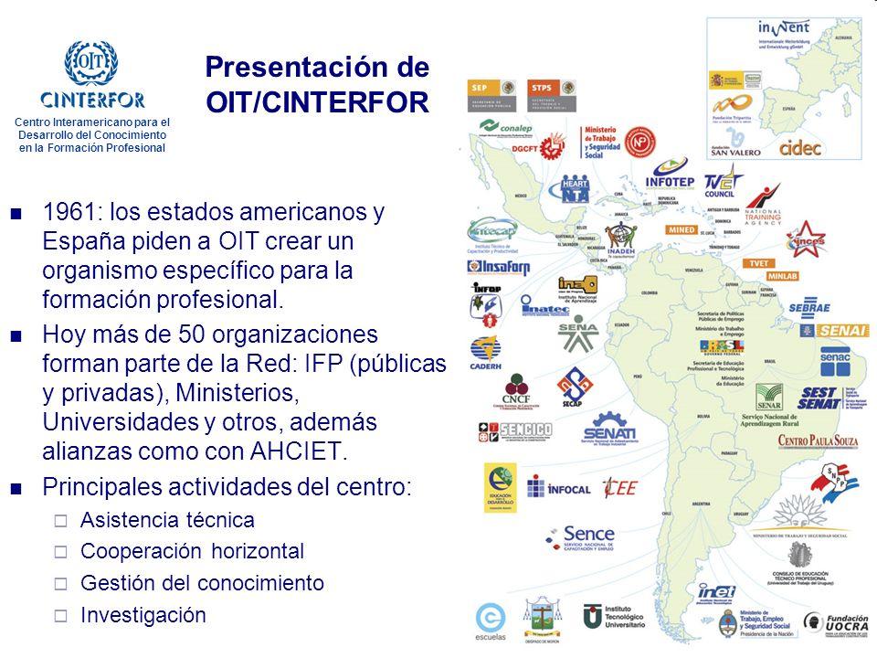 www.oitcinterfor.org Gestión del conocimiento en la formación profesional Centro Interamericano para el Desarrollo del Conocimiento en la Formación Profesional Presentación de OIT/CINTERFOR 1961: los estados americanos y España piden a OIT crear un organismo específico para la formación profesional.