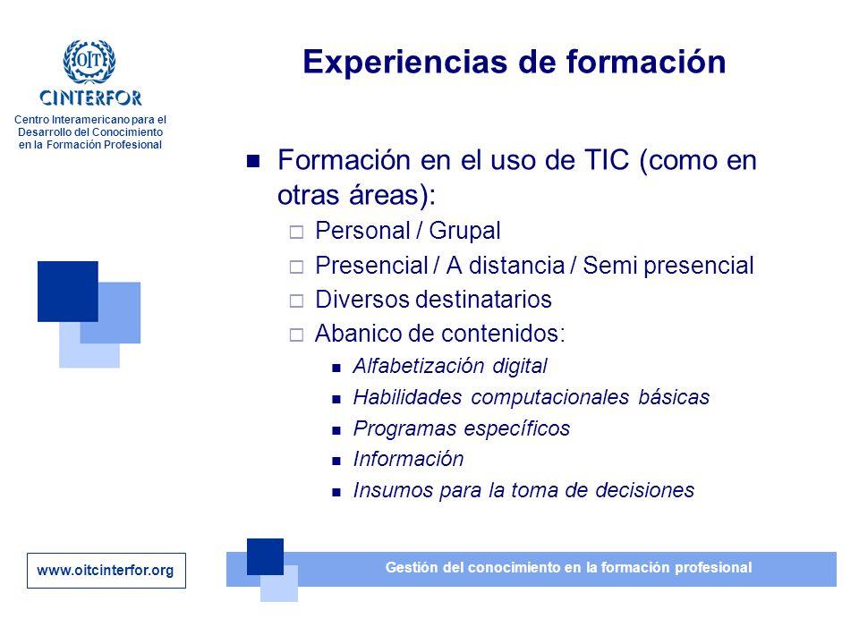 www.oitcinterfor.org Gestión del conocimiento en la formación profesional Centro Interamericano para el Desarrollo del Conocimiento en la Formación Profesional Gracias por su atención barros@oitcinterfor.org